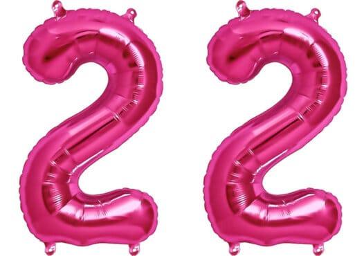 Luftballon Zahl 22 Zahlenballon pink (86 cm)
