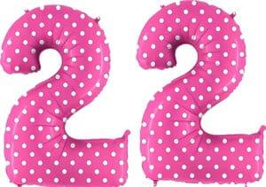 Luftballon Zahl 22 Zahlenballon pink mit weißen Punkten (100 cm)