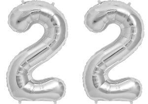 Luftballon Zahl 22 Zahlenballon silber (86 cm)