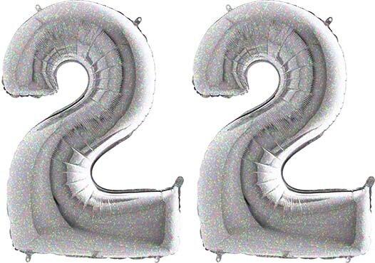 Luftballon Zahl 22 Zahlenballon silber-holographic (100 cm)