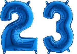 Luftballon Zahl 23 Zahlenballon blau (66 cm)