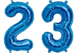 Luftballon Zahl 23 Zahlenballon blau (86 cm)