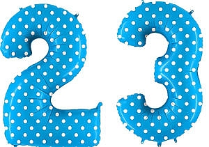Luftballon Zahl 23 Zahlenballon blau mit weißen Punkten (100 cm)