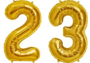 Luftballon Zahl 23 Zahlenballon gold (86 cm)