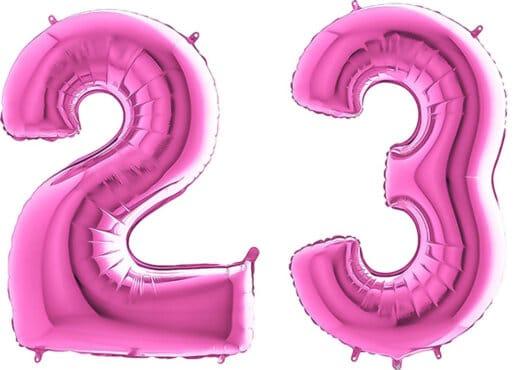 Luftballon Zahl 23 Zahlenballon pink (66 cm)