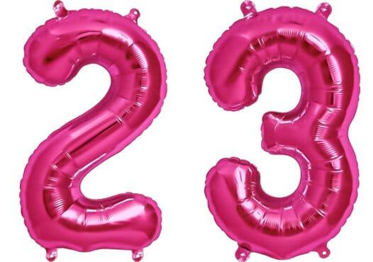 Luftballon Zahl 23 Zahlenballon pink (86 cm)