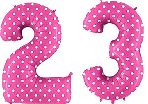 Luftballon Zahl 23 Zahlenballon pink mit weißen Punkten (100 cm)