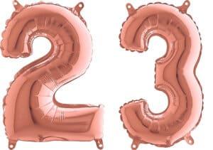 Luftballon Zahl 23 Zahlenballon rosegold (66 cm)
