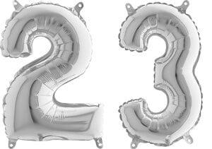 Luftballon Zahl 23 Zahlenballon silber (66 cm)