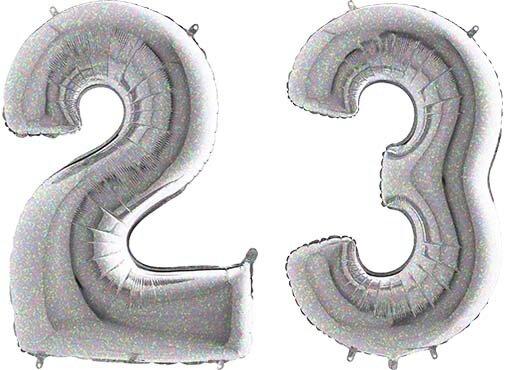 Luftballon Zahl 23 Zahlenballon silber-holographic (100 cm)