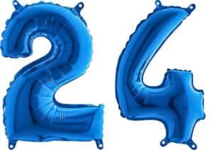 Luftballon Zahl 24 Zahlenballon blau (66 cm)