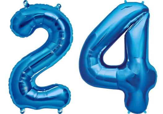 Luftballon Zahl 24 Zahlenballon blau (86 cm)