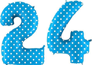 Luftballon Zahl 24 Zahlenballon blau mit weißen Punkten (100 cm)