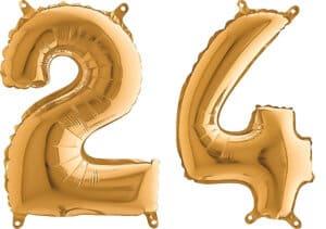 Luftballon Zahl 24 Zahlenballon gold (66 cm)
