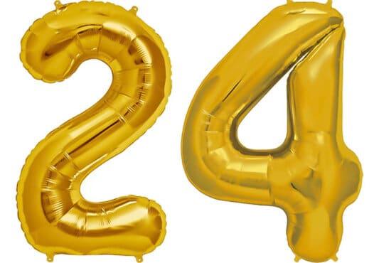 Luftballon Zahl 24 Zahlenballon gold (86 cm)
