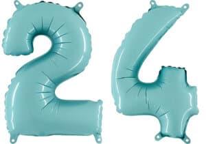 Luftballon Zahl 24 Zahlenballon pastell-blau (100 cm)