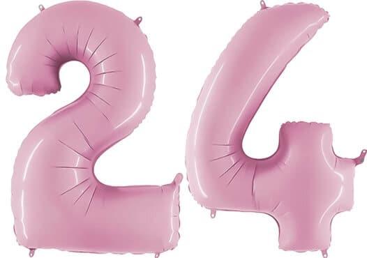 Luftballon Zahl 24 Zahlenballon pastell-pink (100 cm)