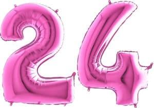 Luftballon Zahl 24 Zahlenballon pink (66 cm)