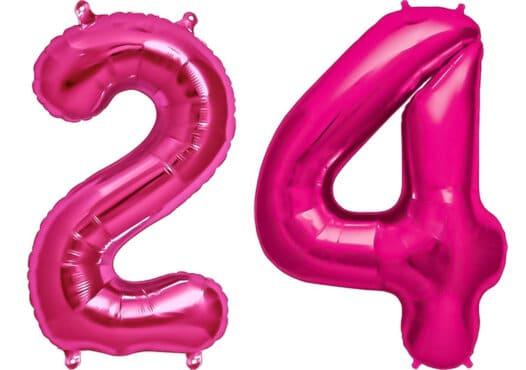 Luftballon Zahl 24 Zahlenballon pink (86 cm)