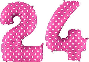 Luftballon Zahl 24 Zahlenballon pink mit weißen Punkten (100 cm)