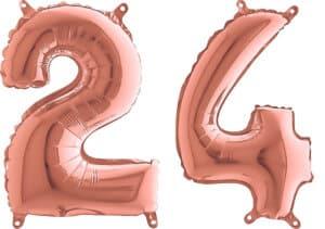 Luftballon Zahl 24 Zahlenballon rosegold (66 cm)