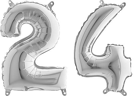 Luftballon Zahl 24 Zahlenballon silber (66 cm)