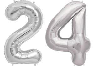 Luftballon Zahl 24 Zahlenballon silber (86 cm)