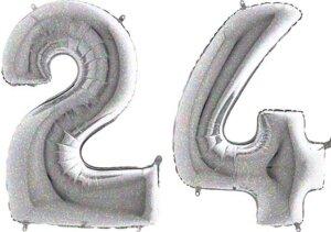 Luftballon Zahl 24 Zahlenballon silber-holographic (100 cm)