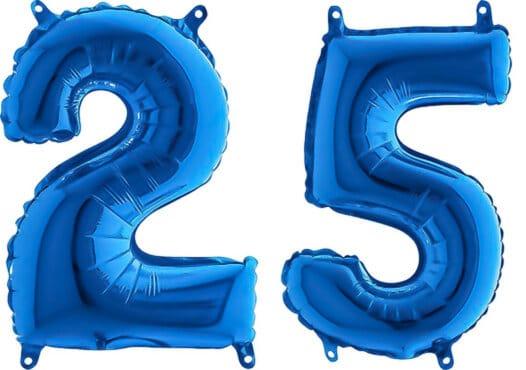 Luftballon Zahl 25 Zahlenballon blau (66 cm)