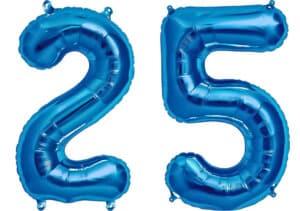 Luftballon Zahl 25 Zahlenballon blau (86 cm)