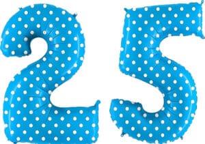 Luftballon Zahl 25 Zahlenballon blau mit weißen Punkten (100 cm)