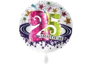 Runder Luftballon mit Glitzersternen und Zahl 25 in weiß (38 cm)