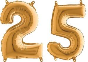Luftballon Zahl 25 Zahlenballon gold (66 cm)