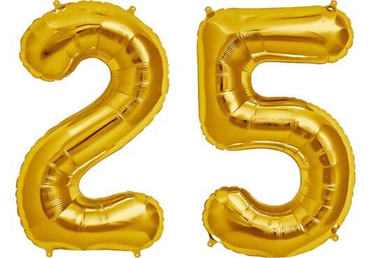 Luftballon Zahl 25 Zahlenballon gold (86 cm)