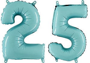Luftballon Zahl 25 Zahlenballon pastell-blau (100 cm)