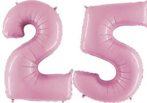 Luftballon Zahl 25 Zahlenballon pastell-pink (100 cm)