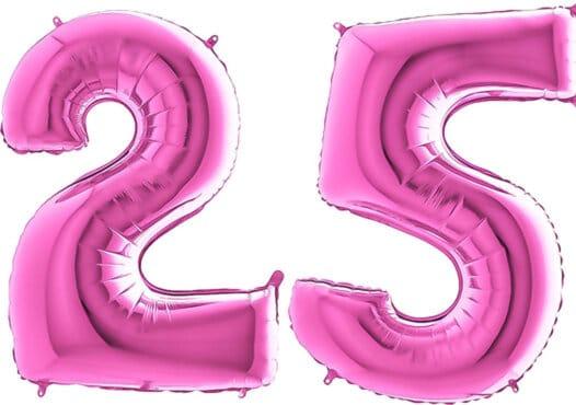 Luftballon Zahl 25 Zahlenballon pink (66 cm)