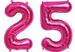 Luftballon Zahl 25 Zahlenballon pink (86 cm)
