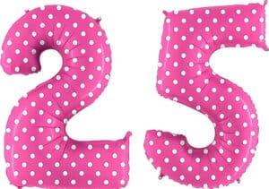 Luftballon Zahl 25 Zahlenballon pink mit weißen Punkten (100 cm)