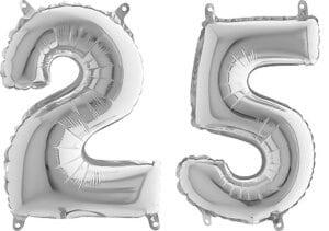 Luftballon Zahl 25 Zahlenballon silber (66 cm)