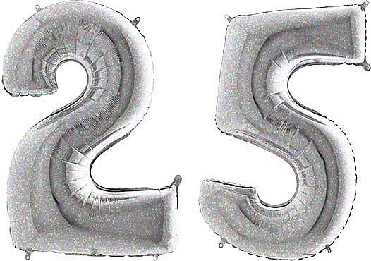 Luftballon Zahl 25 Zahlenballon silber-holographic (100 cm)