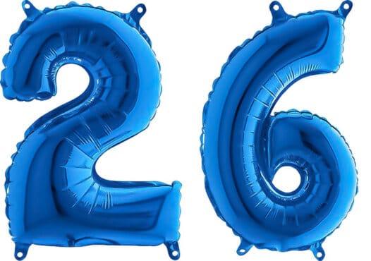 Luftballon Zahl 26 Zahlenballon blau (66 cm)