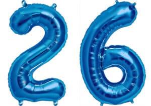Luftballon Zahl 26 Zahlenballon blau (86 cm)