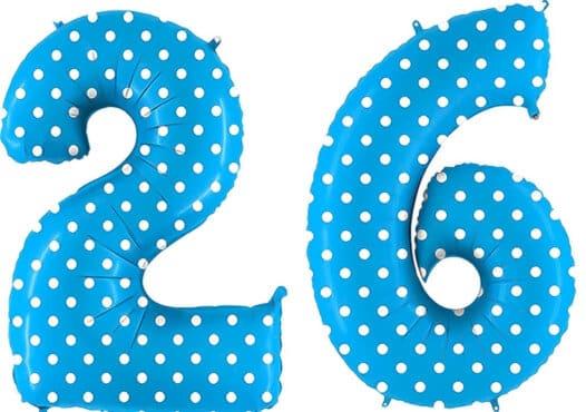 Luftballon Zahl 26 Zahlenballon blau mit weißen Punkten (100 cm)