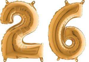 Luftballon Zahl 26 Zahlenballon gold (66 cm)