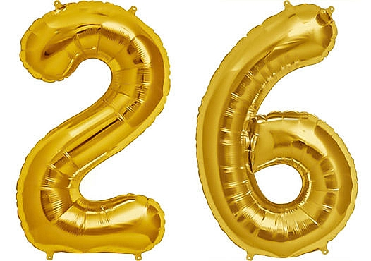 Luftballon Zahl 26 Zahlenballon gold (86 cm)
