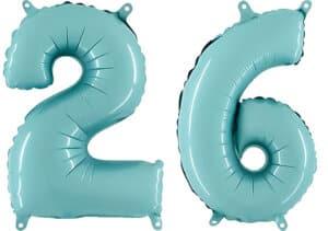 Luftballon Zahl 26 Zahlenballon pastell-blau (100 cm)