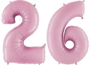 Luftballon Zahl 26 Zahlenballon pastell-pink (100 cm)