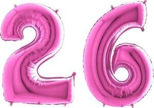 Luftballon Zahl 26 Zahlenballon pink (66 cm)