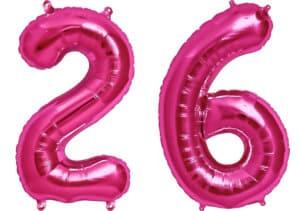 Luftballon Zahl 26 Zahlenballon pink (86 cm)